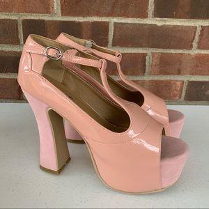 Bumper light pink platform high heel sandals